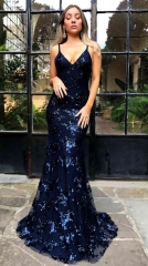 Sexy V-Neck Spaghetti Pencil Dark Blue Gown Dresses Floor Length Sequins Prom Dress