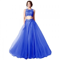 Royal Blue Two Piece Back Zipper Sleeveless Lace A Line Prom Dress