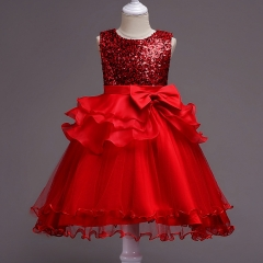 Red Bowknot Little Girl Summer Sequins Prom Dress