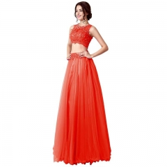 Red Two Piece Back Zipper Sleeveless Lace A Line Prom Dress