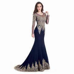 Long Sleeve Small tailed Mermaid Gold Lace Round Neck Navy Blue Prom Dress
