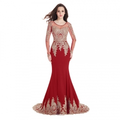 Long Sleeve Small tailed Mermaid Gold Lace Round Neck Red Prom Dress