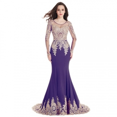 Long Sleeve Small tailed Mermaid Gold Lace Round Neck Purple Prom Dress
