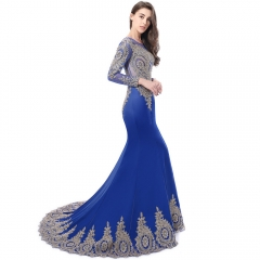 Long Sleeve Small tailed Mermaid Gold Lace Round Neck Blue Prom Dress
