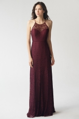 Summer Claret Lace Halter Sleeveless Open Back Prom Dress