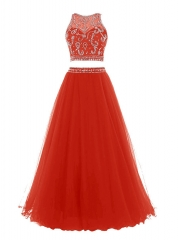 Rhinestone Red Two Piece Party Cocktail Prom Dress