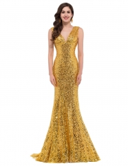 Sequins Gold Mermaid V-Neck Small tailed Pageant Prom Dress
