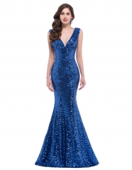 Sequins Dark Blue Mermaid V-Neck Small tailed Pageant Prom Dress