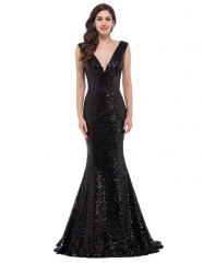 Sequins Black Mermaid V-Neck Small tailed Pageant Prom Dress
