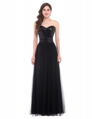 Strapless Open Back Long Sequins Black Lace Cocktail Slim Prom Dress