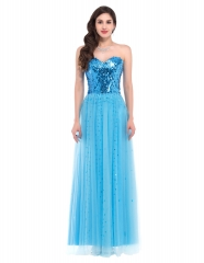 Strapless Open Back Long Sequins Blue Lace Cocktail Slim Prom Dress