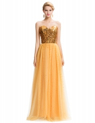 Strapless Open Back Long Sequins Gold Lace Cocktail Slim Prom Dress