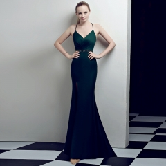 Blackish Green Slit Spaghetti Strap V-Neck Open Back Zipper Small Train Cocktail Prom Dress