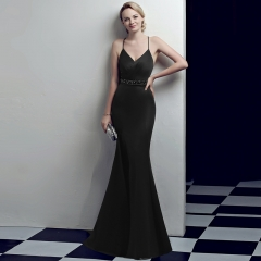 Black Slit Spaghetti Strap V-Neck Open Back Zipper Small Train Cocktail Prom Dress