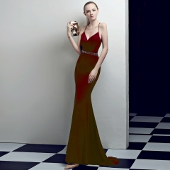 Burgundy Claret Slit Spaghetti Strap V-Neck Open Back Zipper Small Train Cocktail Prom Dress