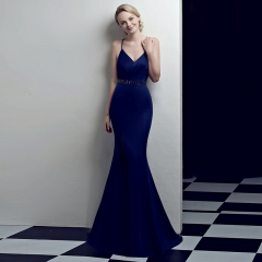 Purplish Blue Slit Spaghetti Strap V-Neck Open Back Zipper Small Train Cocktail Prom Dress