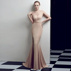 Champagne Slit Spaghetti Strap V-Neck Open Back Zipper Small Train Cocktail Prom Dress