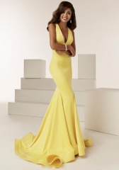 Deep V-Neck Open Back Floor Length Yellow Prom Dress