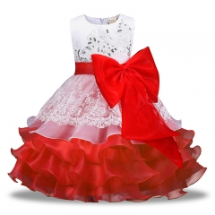 Little Girl Red / Rose Red / Blue / Purple Bowknot Sequins Long Prom Dress