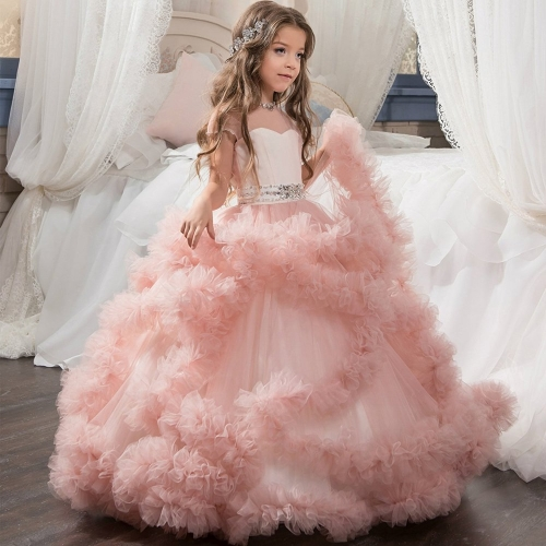 Little Girl Pink / White / Purple / Royal Blue Color Open Back Lace Pleated Skirt Prom Dress