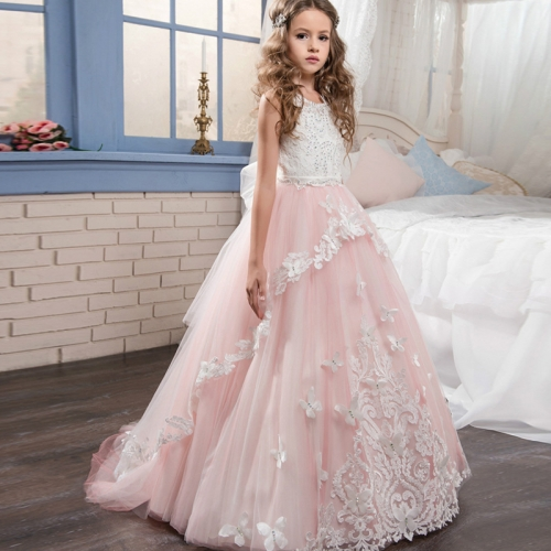 Little Girl Pink White Jewels Long Skirt Prom Dress