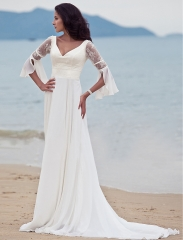 White Long Sleeve V-Neck Beading Long Bridesmaid Prom Dress
