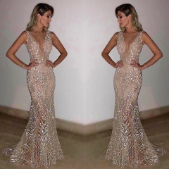 Deep V-Neck Open Back Sequins Gold Silver Mermaid Pageant Prom Dress