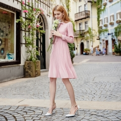 Pink Color Bowknot Pleated Lady Summer Chiffon Dress