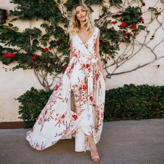 Summer Print Floral White Slit Long Casual Dress