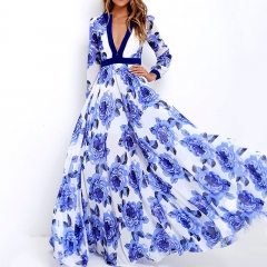 Blue And White Porcelain Deep V-Neck Floral Print Long Sleeve Casual Dress