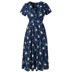 Yellow / White / Black / Navy Blue Floral Print Short Sleeve V-Neck Chiffon Summer Flower Casual Dress