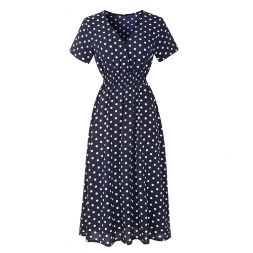 Whit Dot Print Short Sleeve V-Neck Chiffon Summer Flower Casual Dress
