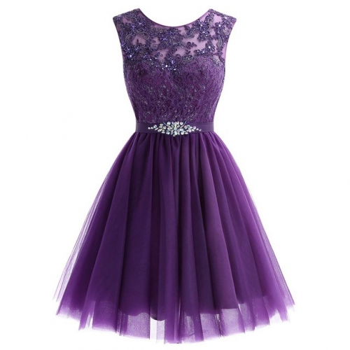 Summer Sleeveless Back Zipper Short Purple Lace Cocktail Prom Dress