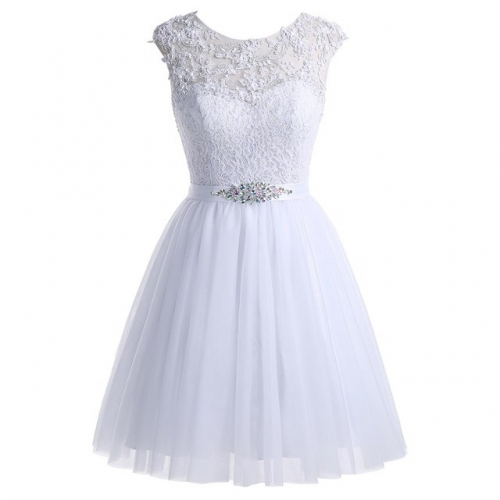 Summer Sleeveless Back Zipper Short White Lace Cocktail Prom Dress