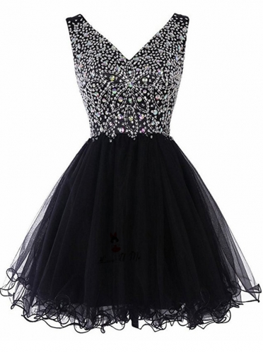 Sexy Deep V-Neck Rhinestone Short Black Lace Party Prom Dress