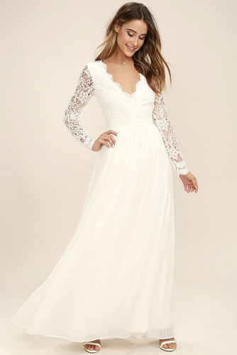 White Chiffon Lace Long Sleeve Hollow out Back V-Neck Casual Dress