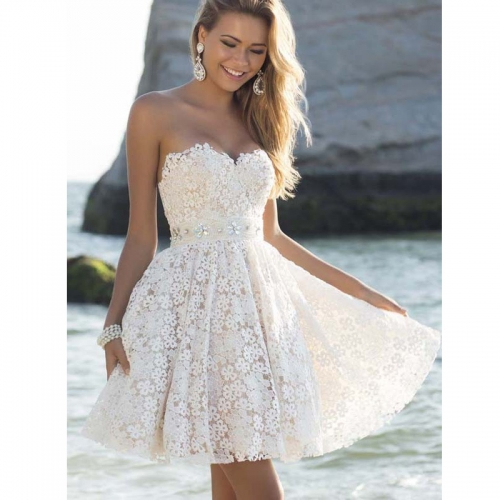 Women Sexy Strapless Sleeveless White Short Prom Dress