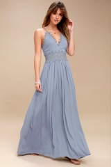 Dusty Blue Deep V-Neck Spaghetti Strap Sleeveless Long Casual Dress