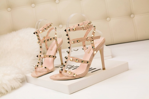 Women Sexy High Heel Gold Finish Studs High Heels For Club Party