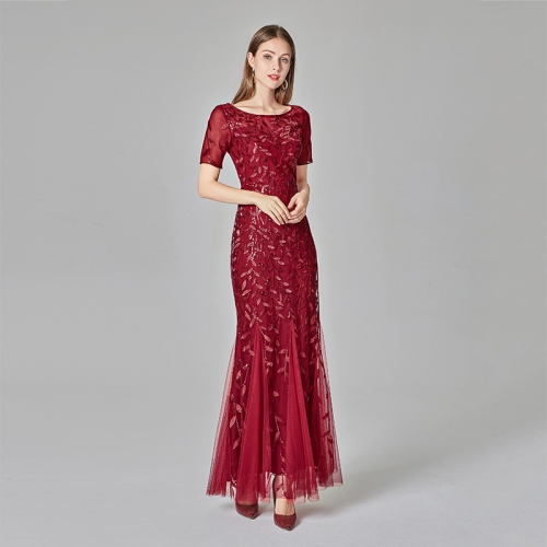 Burgundy Mesh Short Sleeve Mermaid Slim Sequined Long Elegant Dress