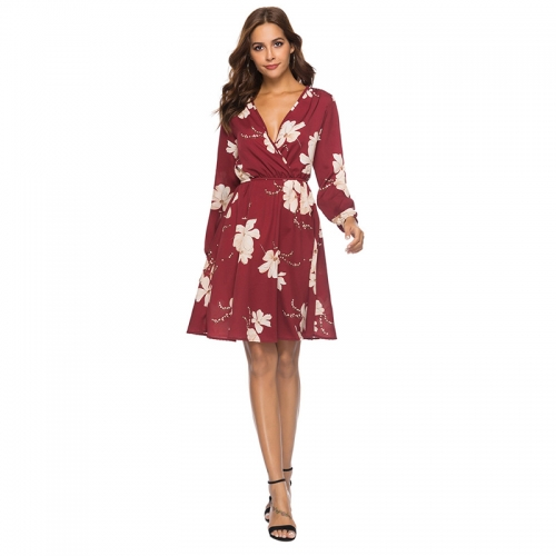 Deep V-Neck Loose Fit Floral Pattern Summer Dresses