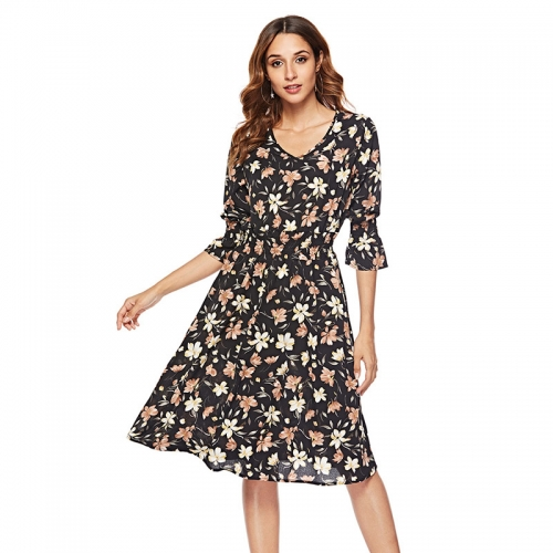 Summer Trumpet Sleeve V-Neck Chiffon Floral Casual Dress