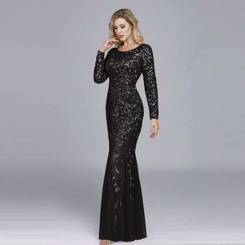 Black Mesh Sequined Long Sleeve Mermaid Party Dress