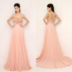 Zipper Back Spaghetti Strap Rhinestone Pink Pageant Prom Dress