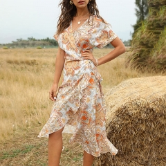 Bohemian V-Neck Slim Dress With Belt