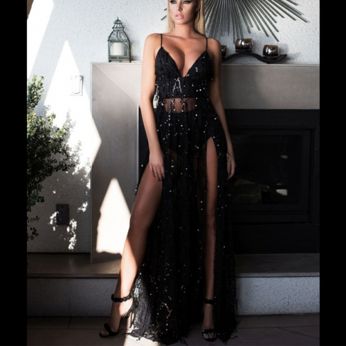 Black Sequined V-Neck Bandage Split Lace Pageant Dresses