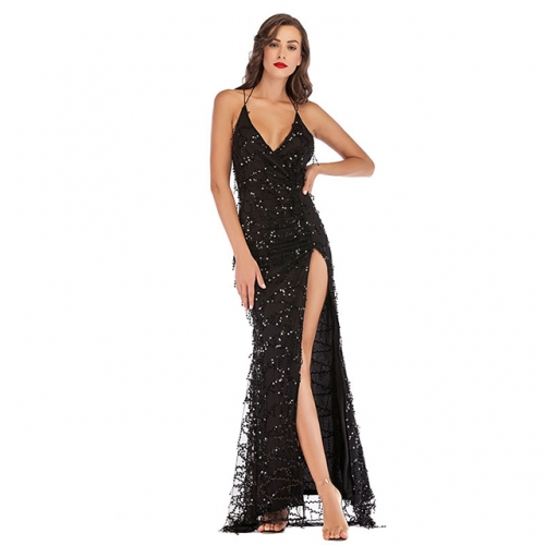 Black Bandage Lace V-Neck Sexy Backless Long Split Party Dresses