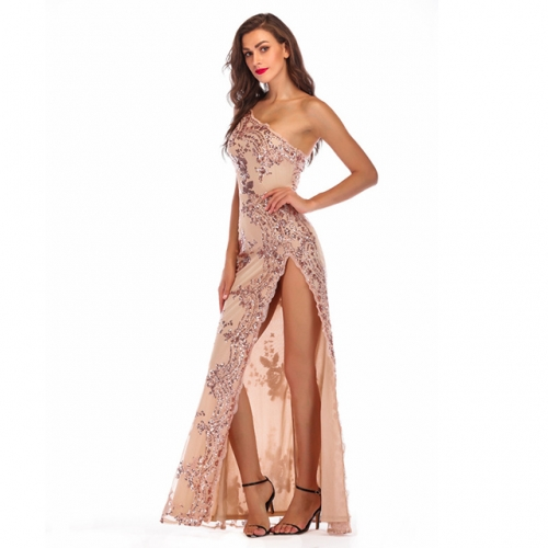 Single Shoulder Sequined High Split Backless Long Evening Dresses