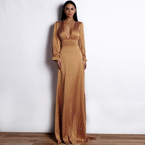 Gold Polk Dot Long Sleeve Deep V-Neck Split Evening Dresses