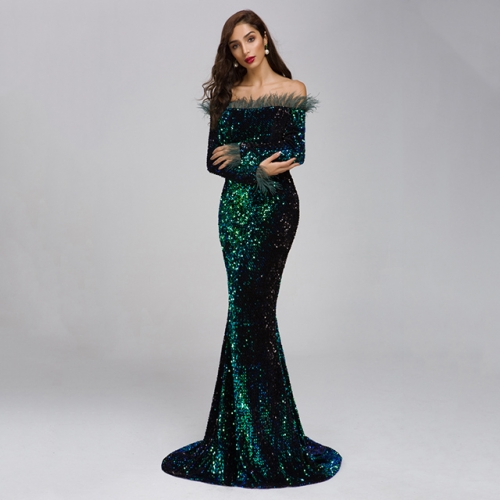 Green Long Sleeve Off Shoulder Long Fishtail Evening Dresses